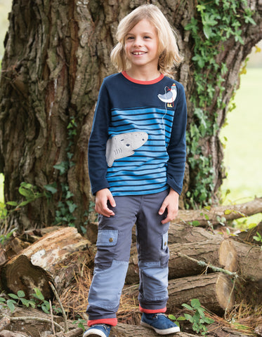 Image of Frugi Peter Panel Tee - Sail Blue Breton/Shark - Tilly & Jasper