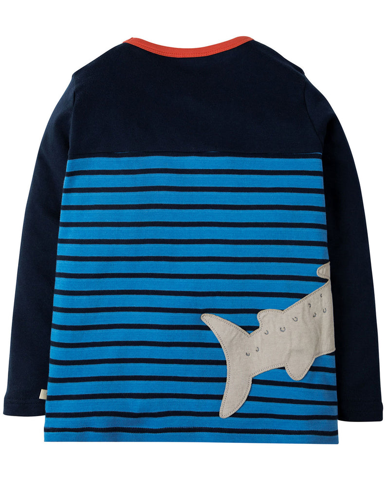 Frugi Peter Panel Tee - Sail Blue Breton/Shark - Tilly & Jasper