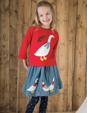 Image of Frugi Scarlett Slouchy Tee - Mars Red/Goose - Organic Cotton