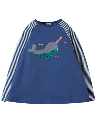 Image of Frugi Suzie Swing Tee - True Blue/Narwhal - Tilly & Jasper