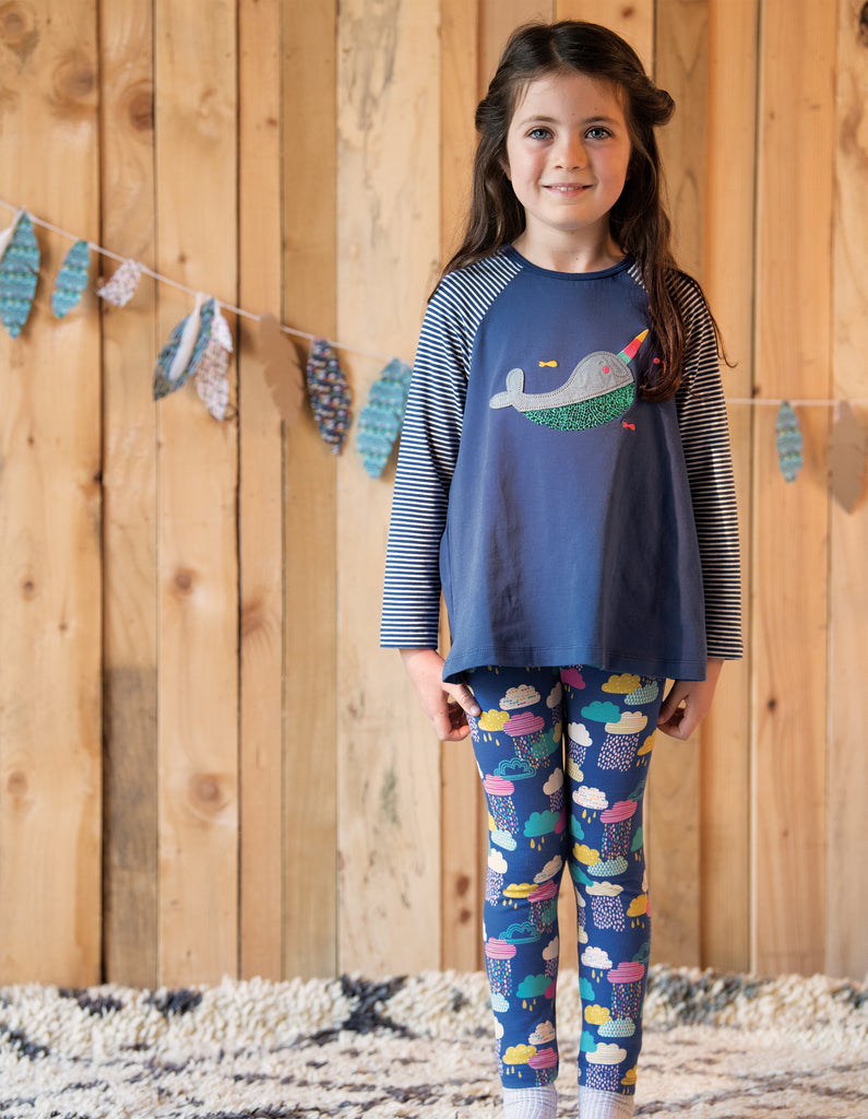 Frugi Suzie Swing Tee - True Blue/Narwhal - Tilly & Jasper