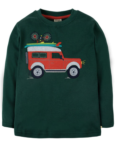 Image of Frugi Touring Applique Top - Fir Tree/Truck