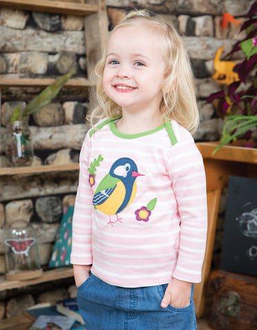 Frugi Bobby Applique Top - Soft Pink Breton/Finch