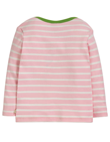 Frugi Bobby Applique Top - Soft Pink Breton/Finch - Tilly & Jasper