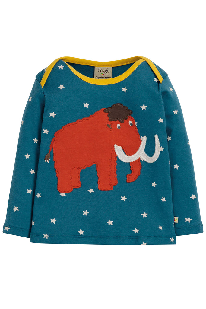 Frugi Bobby Applique Top - Steely Blue Star/Mammoth - Tilly & Jasper