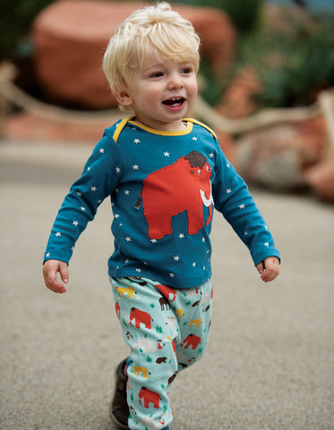 Frugi Bobby Applique Top - Steely Blue Star/Mammoth