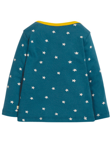Image of Frugi Bobby Applique Top - Steely Blue Star/Mammoth - Tilly & Jasper