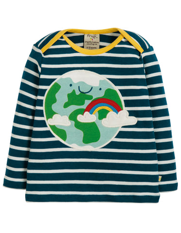 Frugi Bobby Applique Top - Space Blue Breton/Earth - Tilly & Jasper
