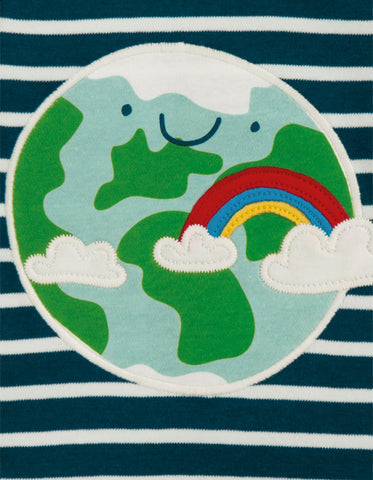 Frugi Bobby Applique Top - Space Blue Breton/Earth