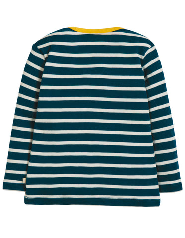 Image of Frugi Bobby Applique Top - Space Blue Breton/Earth - Tilly & Jasper