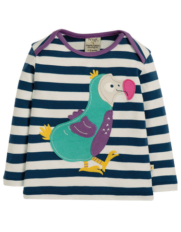 Image of Frugi Bobby Applique Top - Space Blue Stripe/Dodo - Tilly & Jasper