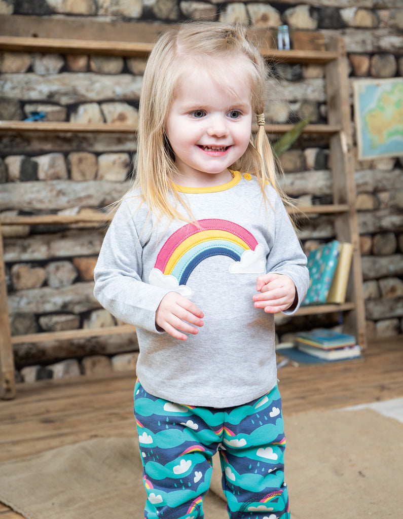 Frugi Button Applique Top - Grey Marl/Rainbow - Tilly & Jasper