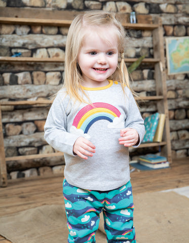 Image of Frugi Button Applique Top - Grey Marl/Rainbow - Tilly & Jasper