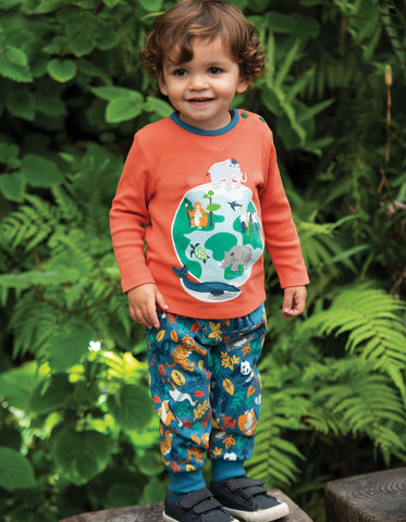 Frugi Button Applique Top - Paprika/Globe