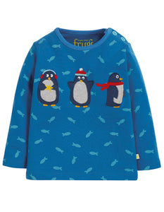 Frugi Button Applique Top - Swimming Shoals/Penguin - Tilly & Jasper