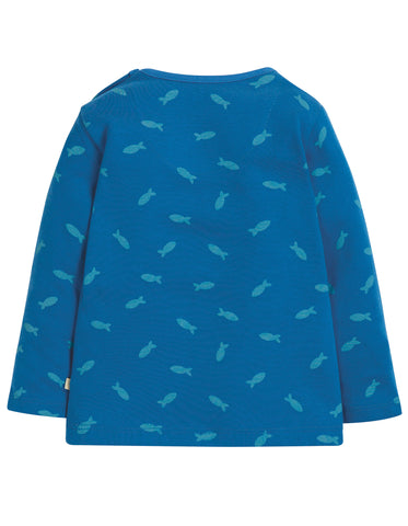 Image of Frugi Button Applique Top - Swimming Shoals/Penguin - Tilly & Jasper