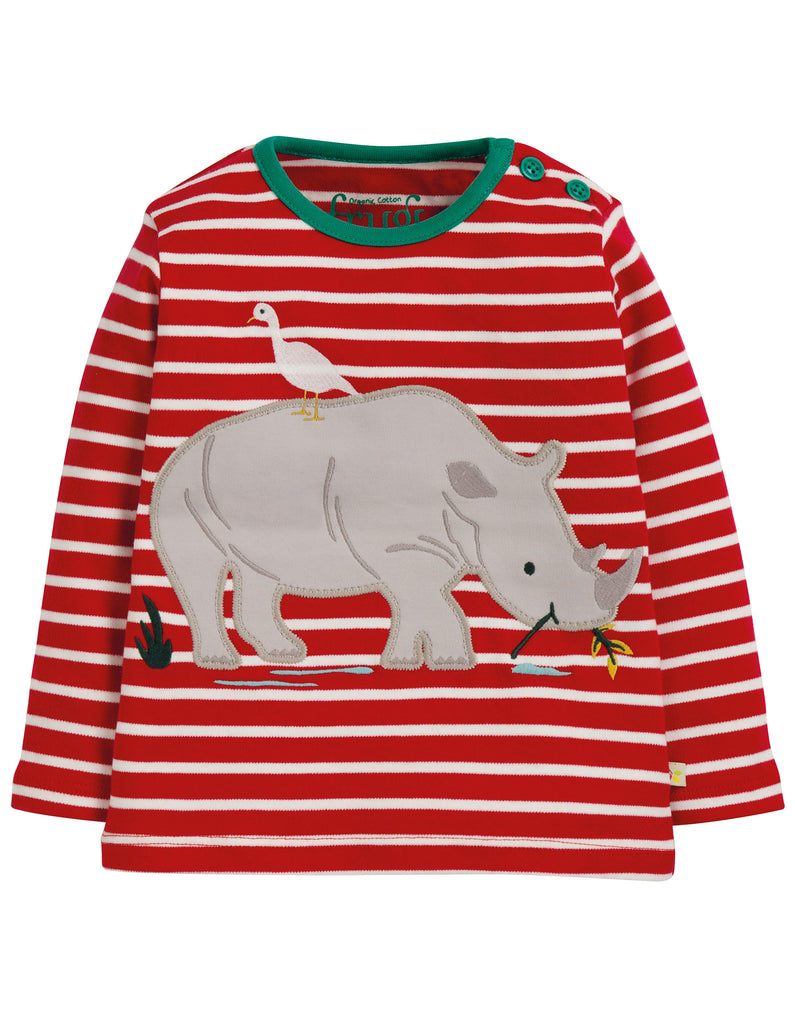 Frugi Button Applique Top - Tango Red Breton/Rhino - Tilly & Jasper