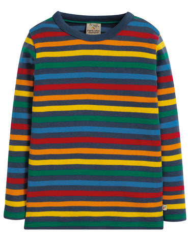 Image of Frugi Favourite Long Sleeve Tee - Rainbow Stripe - Tilly & Jasper