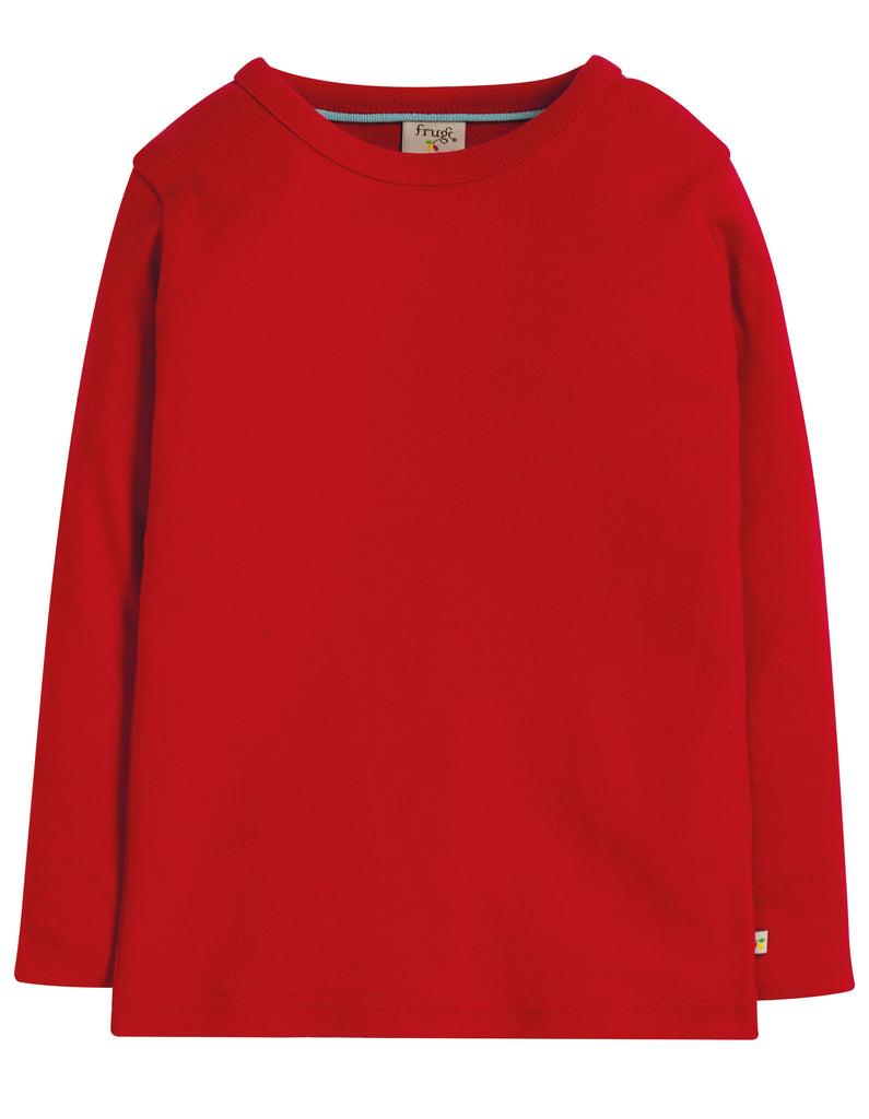 Frugi Favourite Long Sleeve Tee - Tango Red - Tilly & Jasper