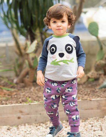 Image of Frugi Happy Raglan Top - Grey Marl/Panda - Tilly & Jasper