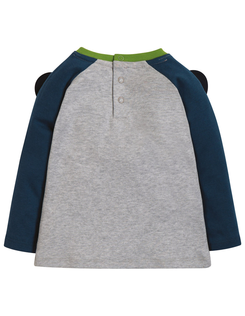 Frugi Happy Raglan Top - Grey Marl/Panda - Tilly & Jasper
