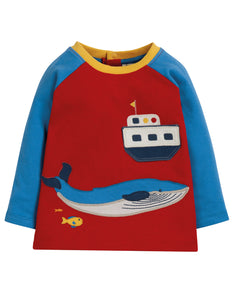 Frugi Henry Raglan Top - Tango Red/Boat - Tilly & Jasper