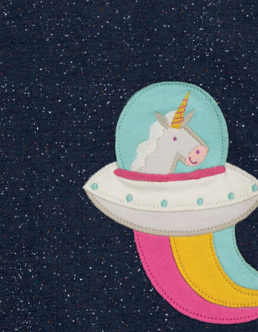Image of Frugi Mabel Applique Top - Space Blue Nepp/Unicorn - Tilly & Jasper