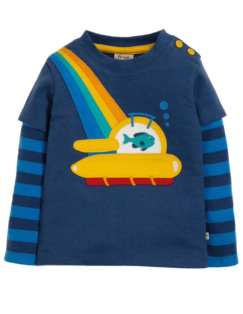 Frugi Leo Layered Tee - Space Blue/Sub - Tilly & Jasper