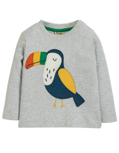 Frugi Little Discovery Applique Top - Grey Marl/Toucan - Tilly & Jasper