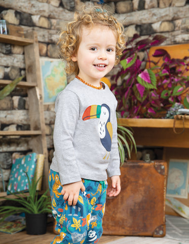 Frugi Little Discovery Applique Top - Grey Marl/Toucan