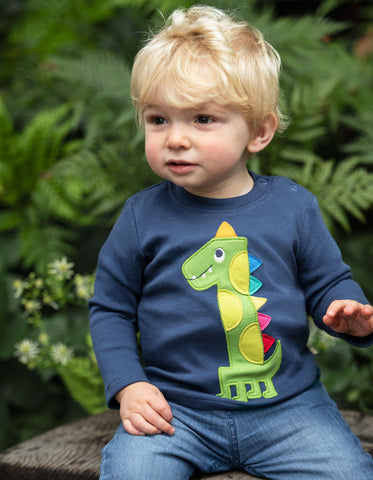 Frugi Magic Number Top - Space Blue/Dino