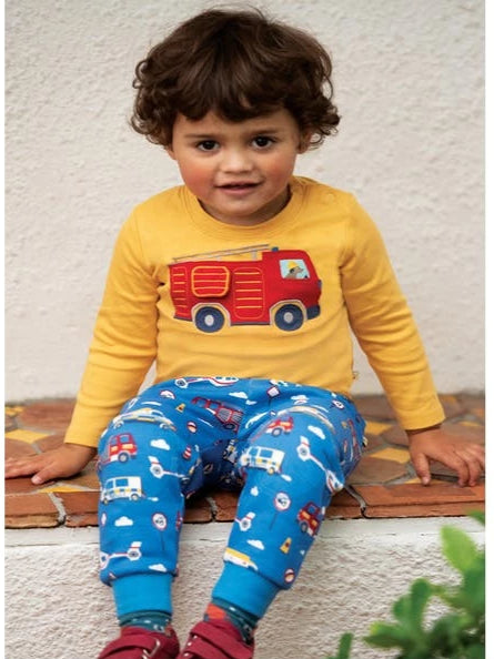 Frugi Ira Interactive Applique Top - Bumblee Bee/Engine - Tilly & Jasper