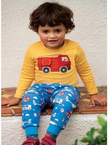 Image of Frugi Ira Interactive Applique Top - Bumblee Bee/Engine - Tilly & Jasper