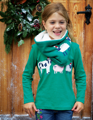 Frugi Adventure Applique Top - Jade/Festive Friends - Tilly & Jasper