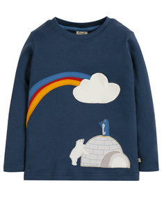 Frugi Adventure Applique Top - Space Blue/Igloo - Tilly & Jasper