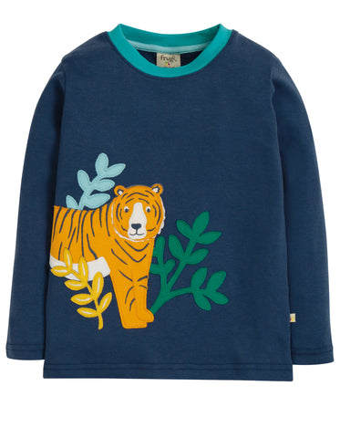 Frugi Adventure Applique Top - Space Blue/Tiger - Tilly & Jasper