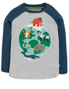 Frugi Alfie Applique Top - Marl/Globe - Tilly & Jasper