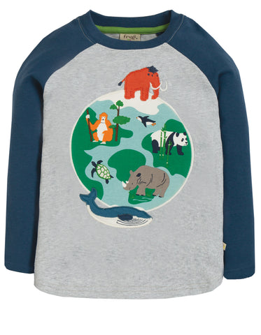 Image of Frugi Alfie Applique Top - Marl/Globe - Tilly & Jasper