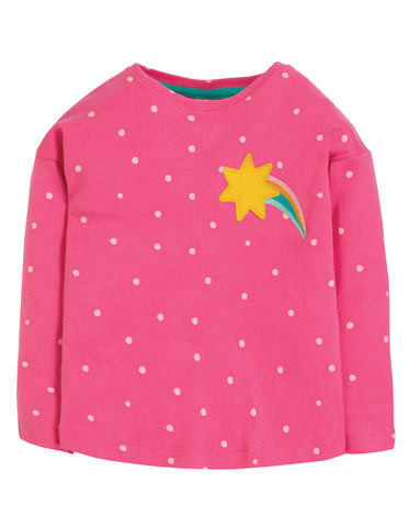 Frugi Bethany Boxy Top - Flamingo Spot/Star - Tilly & Jasper