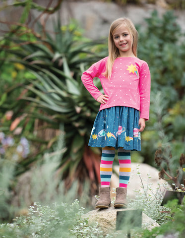 Frugi Bethany Boxy Top - Flamingo Spot/Star