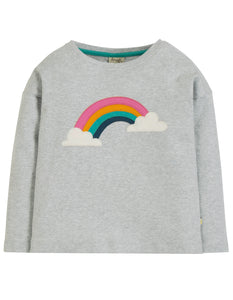Frugi Bethany Boxy Top - Grey Marl/Rainbow - Tilly & Jasper