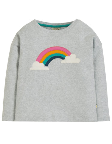 Image of Frugi Bethany Boxy Top - Grey Marl/Rainbow - Tilly & Jasper