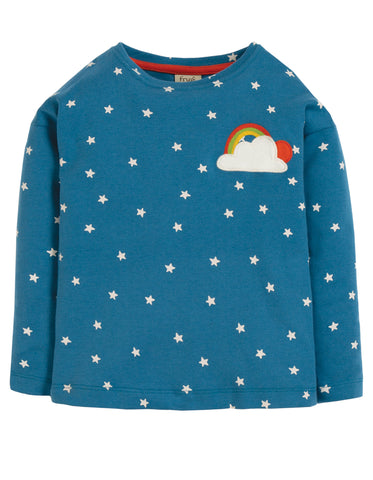 Frugi Bethany Boxy Top - Steely Blue Star/Cloud - Tilly & Jasper