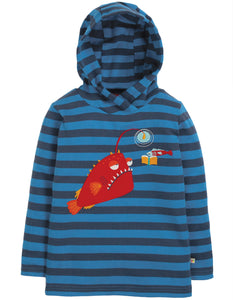 Frugi Campfire Hooded Top - Sail Blue Stripe/Angler Fish - Tilly & Jasper