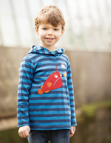 Frugi Campfire Hooded Top - Sail Blue Stripe/Angler Fish