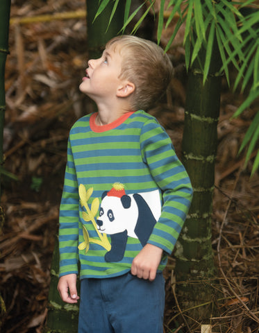 Frugi Discovery Applique Top - Meadow Stripe/Panda