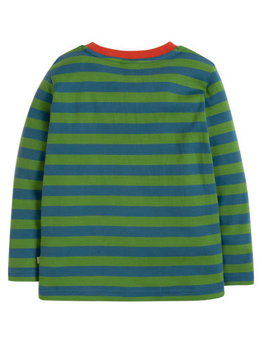 Image of Frugi Discovery Applique Top - Meadow Stripe/Panda - Tilly & Jasper