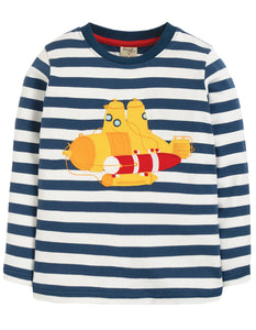 Frugi Discovery Applique Top - Space Blue Stripe/Sub - Tilly & Jasper