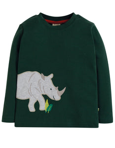 Frugi Joe Applique Top - Fir Tree/Rhino - Tilly & Jasper