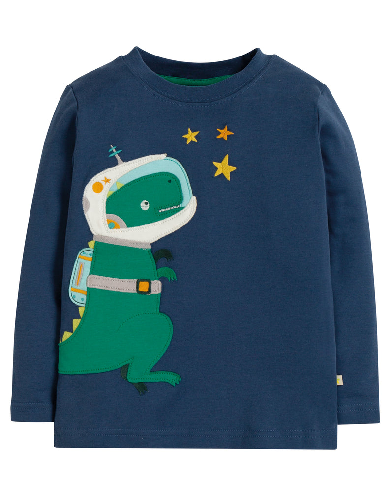 Frugi Joe Applique Top - Space Blue/Dino - Tilly & Jasper
